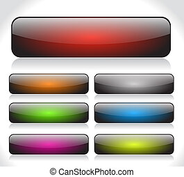 Buttons for web. Vector. - Color long shiny buttons for web...