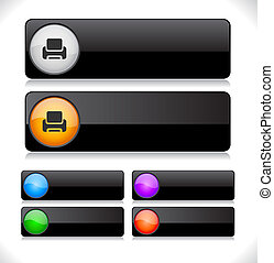 Color long shiny buttons for web. Vector illustration.