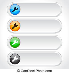 Buttons for web. Vector. - Color plastic long buttons for...