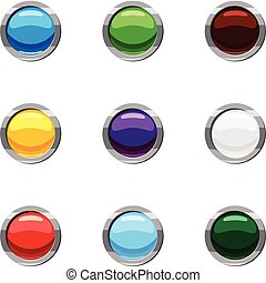 Buttons for website icons set, cartoon style