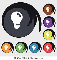 buttons., gekleurde, licht, symbool, idee, vector, acht, teken., bol, pictogram