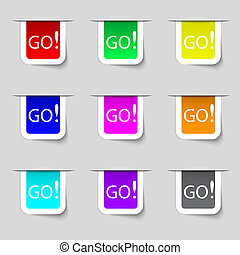 buttons., gekleurde, meldingsbord, set, gaan, icon.