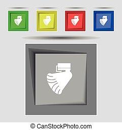 buttons., gekleurde, origineel, meldingsbord, vector, vijf, icon., grammofoon