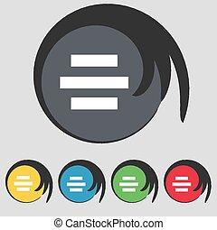 buttons., gekleurde, symbool, vector, vijf, pictogram,...