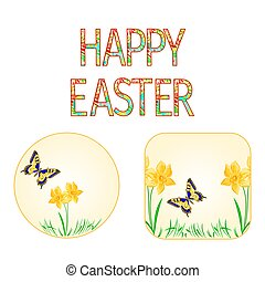 Buttons Happy easter spring flowers narcissus with butterfly vector