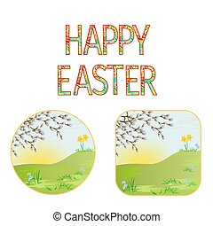 Buttons Happy easter  spring meadow with  pussy willow vintage vector.eps