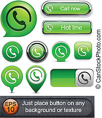 buttons., high-detailed, chamada, modernos