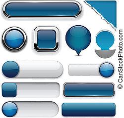 buttons., high-detailed, dark-blue, modern