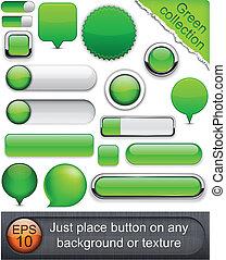 buttons., high-detailed, modernos, verde