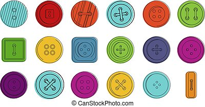 Buttons icon set, color outline style
