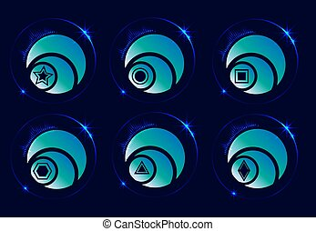 Buttons, icons. Glowing on a blue, dark background. Round with geometric pattern.n
