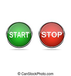 buttons., illustration., clona, start, vektor, 3
