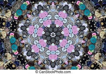 Buttons in a kaleidoscope vie