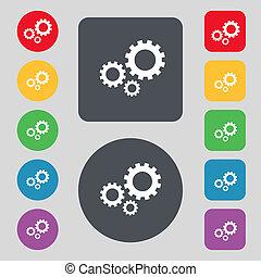 buttons., jogo, engrenagem, ajustes, cogwheel, símbolo.,...