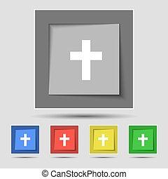 buttons., keresztény, színezett, aláír, kereszt, vektor, öt, vallásos, eredeti, ikon