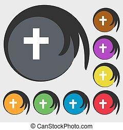 buttons., keresztény, színezett, jelkép, kereszt, vektor, nyolc, icon., vallásos