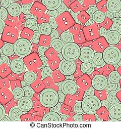 buttons., kleurrijke, seamless, illustratie, vector, achtergrond