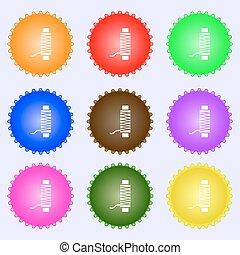 buttons., komplet, high-quality, nitka, cielna, poznaczcie., barwny, wektor, rozmaity, ikona