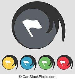 buttons., koniec, barwny, symbol, początek, bandera, wektor, piątka, poznaczcie., ikona