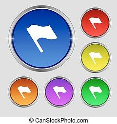 buttons., koniec, symbol, bandera, okrągły, początek, jasny, wektor, barwny, poznaczcie., ikona