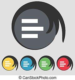 buttons., left-aligned, gekleurde, teken., vector, vijf,...