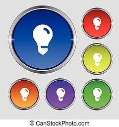 buttons., licht, symbool, idee, ronde, helder, vector, kleurrijke, teken., bol, pictogram