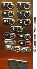 buttons., lift, vloer