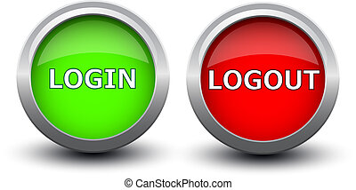 buttons login and logout on white bakground