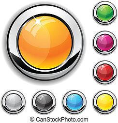 buttons., lucido, metallico