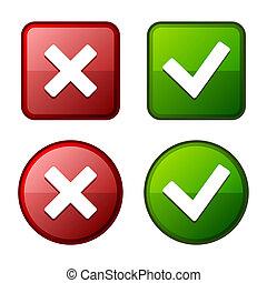 buttons., markierung, glänzend, vector., green., aufkleber, kontrollieren, rotes