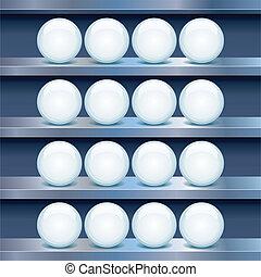 buttons., mensola, immagine, metallo, vetro, vettore, vuoto