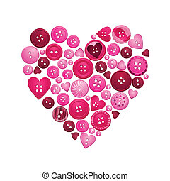 Heart formed from red and pink buttons