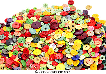 buttons of many colors on a white background