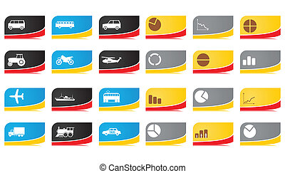 Buttons on a car business theme. A vector illustration