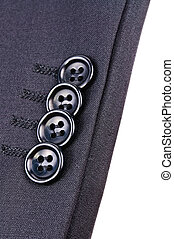 Buttons on the sleeve of jacket. Close-up Photos