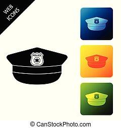 buttons., polícia, coloridos, ícones, sinal., boné, isolado, ilustração, experiência., vetorial, quadrado, jogo, ícone, chapéu, branca, cockade