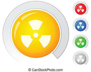 Circle buttons with radiation sign. Vector illustration.