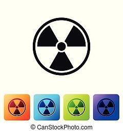 buttons., radioactieve kleur, teken., straling, vrijstaand, gevaar, symbool., achtergrond., vector, plein, illustratie, vergiftig, black , set, witte , pictogram