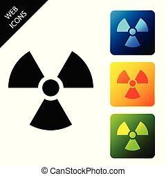 buttons., radioactif, coloré, icônes, signe., radiation, isolé, danger, symbole., arrière-plan., vecteur, carrée, illustration, toxique, ensemble, blanc, icône