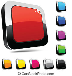 buttons., rectangulaire, 3d