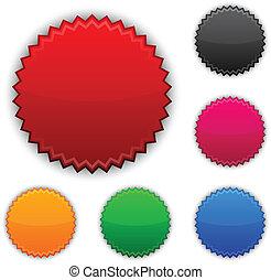 buttons., redondo, premio, brillante