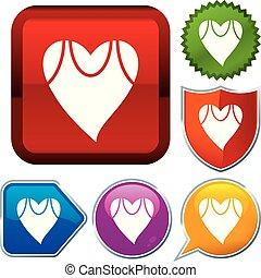 buttons., reeks, set, health., glanzend, pictogram