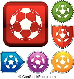 buttons., reeks, set, voetbal, glanzend, ball., pictogram