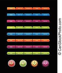 buttons., sätta, färgad