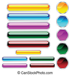Buttons, scaleable glossy rounded rectangles and circles in...