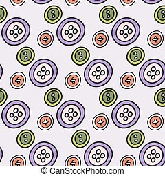 Buttons. Seamless pattern with hand-drawn cartoon sewing tools. Vector illustration.