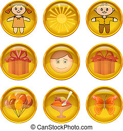 Buttons set, childhood