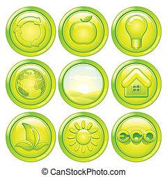 buttons., set, eco, set., vettore, ecologia, verde, icona