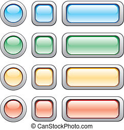 Buttons set - Different size and colors of modern web...