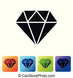 buttons., set, gioielleria, colorare, diamante, isolato, illustrazione, segno, fondo., vettore, quadrato, simbolo., nero, bianco, stone., gemma, icona